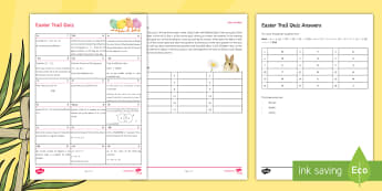 Letter Collecting Easter Quiz - Secondary - Easter Resources, algebraic manipulation, probability, area and perimeter, fractions, se