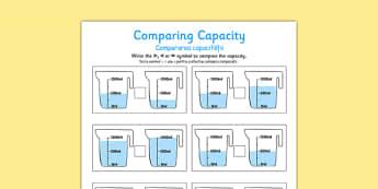Comparing Capacity Activity Sheets Romanian Translation - romanian, comparing capacity, activity sheets, activity, sheets, compare, capacity, worksheet