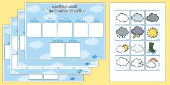 Weekly Weather Recording Chart Arabic/English - Weekly Weather Recording Chart - weather, weather calendar, weekly weather calendar, weakly weather