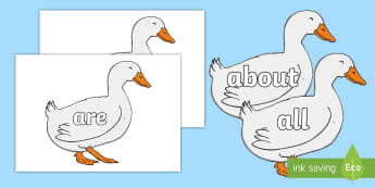 100 High Frequency Words on Mother Duck - High frequency words, hfw, DfES Letters and Sounds, Letters and Sounds, display words