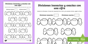 Ficha de actividad: Colorear por divisiones inexactas y exactas con una cifra - caramelos - dividir, división, repartir, cifras, divide, division, sharing, figures, digits, escrito, escrita,