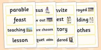 The Wedding Feast Word Cards - parable, wedding, feast, religion