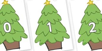Numbers 0-100 on Christmas Trees (Plain) - 0-100, foundation stage numeracy, Number recognition, Number flashcards, counting, number frieze, Display numbers, number posters