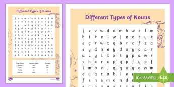 Different Types of Nouns Word Search - Different Types of Nouns  Word Search, vocabulary, writing, punctuation, nouns, proper nouns, common
