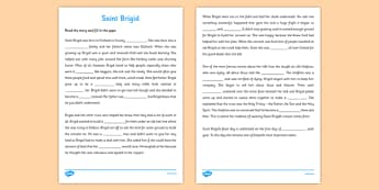 Saint Brigid Cloze Activity Sheet - gaeilge, Saint Brigid, Story, Cloze, Comprehension, reading, worksheet
