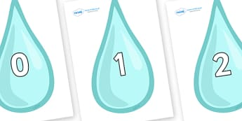 Numbers 0-50 on Water Droplets - 0-50, foundation stage numeracy, Number recognition, Number flashcards, counting, number frieze, Display numbers, number posters