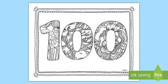 100 Days of School Mindfulness Colouring Page - 100 Days of School, hundred, milestone, celebrate, nz, new zealand