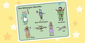 Dick Whittington Word Mat - Dick Whittington, Word Mat, Dick
