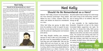 Ned Kelly: Hero or Villain? Exposition Writing Sample - Literacy, Ned Kelly: Hero or Villain? Exposition  Writing Sample, writing sample, writing, english,