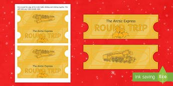 Arctic Express Role Play Tickets - winter, cold, arctic, antartic, north pole, journey, imagination, train, travel, money,