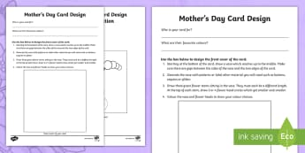 Mother's Day Card Design Activity Sheet - KS1 Mother's Day UK, Mother's Day, special person, design, card, craft, paper craft,