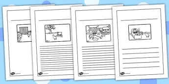 Farmer and Duck Story Writing Frames - farmer duck, writing frames, lined, frames for writing, themed writing frames, writing template, colour and write, story