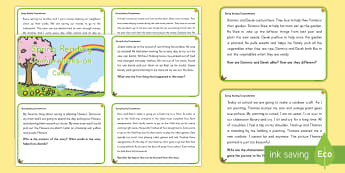 Spring Reading Comprehension Challenge Cards - Spring, First day of Spring, Reading Comprehension, Setting, Characters, Point of View, Lesson, Deta