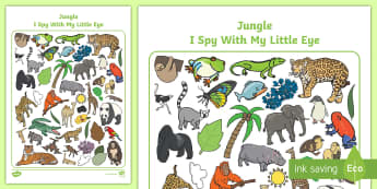 Jungle-Themed I Spy with My Little Eye Activity - I spy, activity
