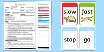 EYFS Musical Instruments Stop, Go, Fast, Slow Game Adult Input Plan and Resource Pack - EYFS, Early Years planning, adult led, Letters and Sounds, phonics, Phase 1, aspect 2.