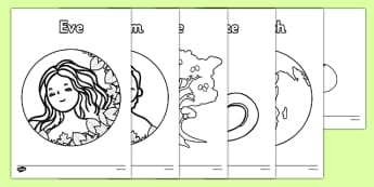 Adam and Eve Creation Story Colouring Sheets - Adam, Eve, Eden, serpent, fruit, earth, garden, creation, creation story, colouring, fine motor skills, poster, worksheet, vines, A4, display, paradise, sea creatures, birds, stars, moon, sun, tree, evil