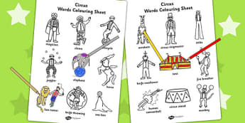 Circus Words Colouring Sheet - colour, colour in, keywords, words