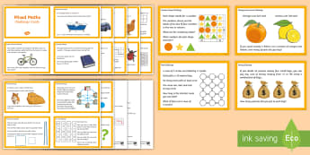 Junior Mixed Maths Challenge Cards - Math, Junior, Grade 4, Grade 5, Grade 6, Number Sense and Numeration, Measurement, Geometry,