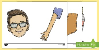 My Body Threading Cut-Outs - threading cards, fine motor skills, activities, junior infants, senior infants, early years, foundat