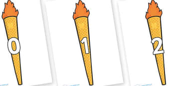 Numbers 0-31 on Olympic Torches - 0-31, foundation stage numeracy, Number recognition, Number flashcards, counting, number frieze, Display numbers, number posters