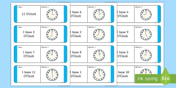 Time O'Clock Loop Cards - ROI, Irish, Gaeilge, time, clocks, o'clock, an t-am, am, clog, an chlog, loop game,Irish, hour