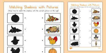 Thanksgiving Shadow Matching Worksheet - usa, america, worksheets, shadows