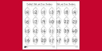 Football Odd and Even Numbers Coloring Worksheet - usa, football, odd and even, numbers, coloring, worksheet
