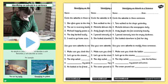 Identifying an Adverb in a Sentence SPaG Lesson Teaching Pack