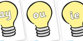 Phase 5 Phonemes on Light Bulbs (Plain) - Phonemes, phoneme, Phase 5, Phase five, Foundation, Literacy, Letters and Sounds, DfES, display