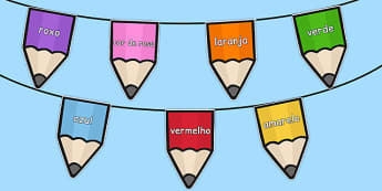 Colours on Pencil Bunting Portuguese - portuguese, colours, pencil, bunting, display