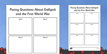 Posing Questions About Gallipoli and The First World War Worksheet - australia, Gallipoli, First World War, WW1, World War One, History, Australian involvement, ANZACs