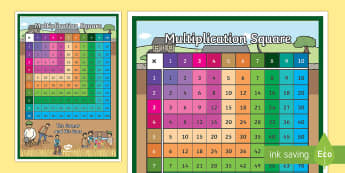 The Farmer and His Sons Themed 1-100 Multiplication Square - aesops fables