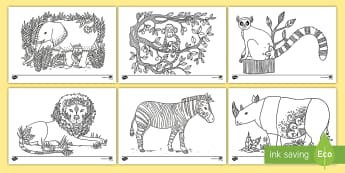 Africa Mindfulness Colouring Pages - african, animals, mindfulness, colouring,calming