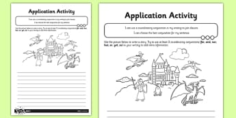 Co-ordination Application Activity Sheet - conjunctions, subordination, subordinating conjuctions, joining sentences, clauses, worksheet