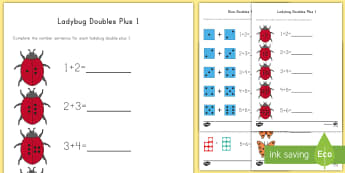 Doubles Plus 1 with Pictures Activity Sheets - Doubles, Near Doubles, Double Plus 1, Doubles +1, 1.OAC.6