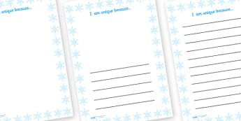 I Am Unique Because Snowflake Writing Frame - I am unique, ourselves, all about me, writing frames, writing templates, writing aid, line guide, writing