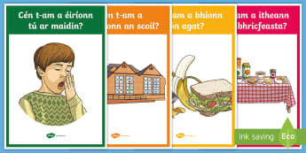 Time - Ceisteanna Display Posters Gaelige - Requests - ROI, Irish, Gaeilge, Time, am, an t-am, cómhra, ceisteanna, conversation, questions,Iris