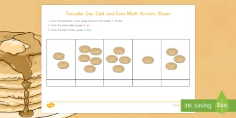 Pancake Day Odd and Even Numbers Activity Sheet - Pancake Day, Pancake Day math, odd and even numbers
