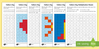 KS1 Father's Day Multiplication Mosaic Activity - Year One, Year Two, Times Tables, Maths, Calculation
