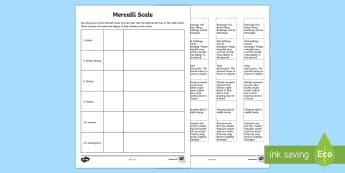 Mercalli Scale Activity Sheet