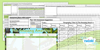 PlanIt - Geography Year 6 - The Amazing Americas Unit Assessment Pack - planit, geography, amazing americas