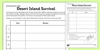 Desert Island Survival Activity Sheet - desert island survival, worksheet