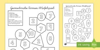 Geometrische Formen Würfelspiel: Addieren und Anmalen - Geometrische Formen, Geometrie, Geometrie Spiel, Addieren und Anmalen, Addition, Addieren, Anmalen