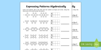 Expressing Patterns Algebraically Activity Sheet - expressing patterns, express, parttern, algebra, algebraically, activity, worksheet