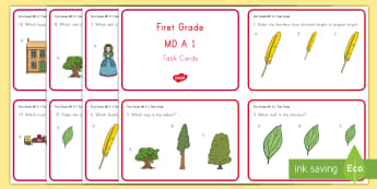 Common Core First Grade Math MD A 1 Task Cards - Common Core, Measurement and Data, Length, Longest, Shortest, Tallest
