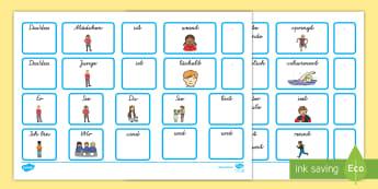 Satzbildungskarten Arbeitsblatt zum Satzbau: Wörtersalat - Satzbau, Satzbildung, Sätze bilden, Satzbildungskarten, erste Sätze, erste Sätze bilden, Grammati