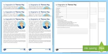 Theresa May Biography Differentiated Reading Comprehension French - General Election 08/06/2017, Theresa, May, reading, comprehension, differentiated, français ,élect