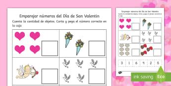 ETarjetas de emparejar: San Valentín - Emparejar números, Día de San Valentín, Día del amor y a amistad, recorta y pega, preescolar, n
