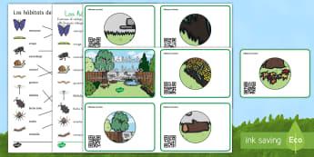 Usando los códigos QR para encontrar los hábitats de los bichos - libélula, abeja, caracol, hormiga, típula, escarabajo, mariposa, oruga, gusano, mariquita, cochini