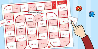 Self Checking Addition to 10 Board Game - self-check, board, game